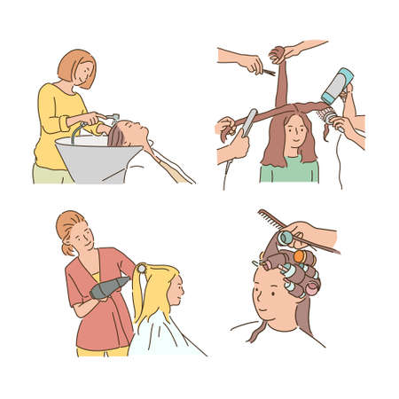 People doing various hairstyles in beauty salon.