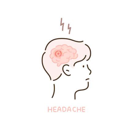 Head of a person showing a headache. 일러스트