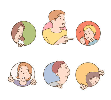 People are sticking out their faces in a circular hole. 일러스트
