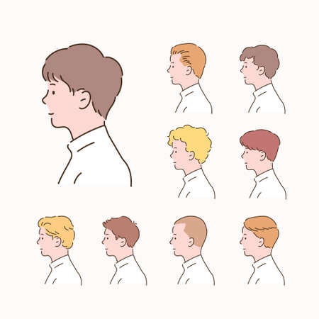 Different types of men's hairstyles. side view.