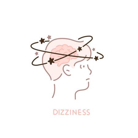 A man's head showing dizziness.