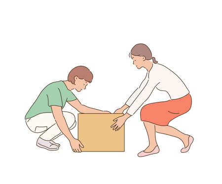Two women are trying to lift a box together. 일러스트