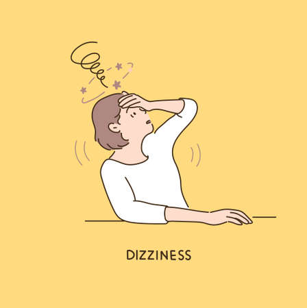 A woman is holding her head in her hands and expressing her dizziness. 일러스트
