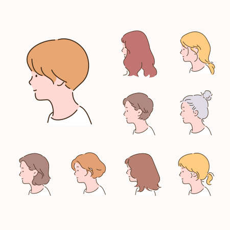 Different types of women's hairstyles. side view.
