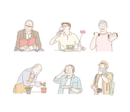Different lifestyles of the elderly. 일러스트