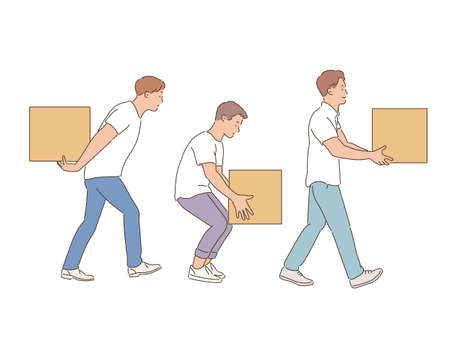 People carrying boxes of various weights. hand drawn style vector design illustrations. 일러스트
