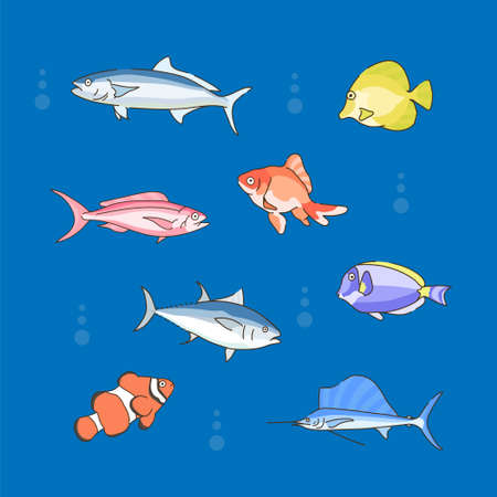 fish in the sea. hand drawn style vector design illustrations.