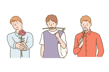 Men with flowers. hand drawn style vector design illustrations.
