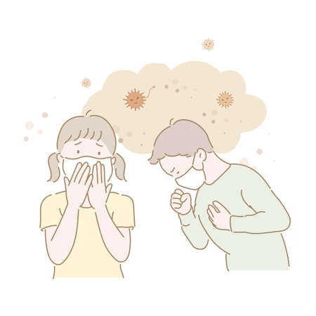 Young children are wearing masks and coughing. hand drawn style vector design illustrations.