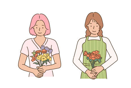 A flower shop employee is holding a bouquet of flowers. hand drawn style vector design illustrations. 일러스트
