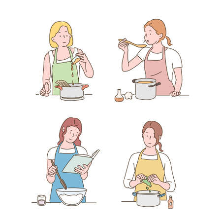 Women in aprons are cooking. hand drawn style vector design illustrations. 일러스트