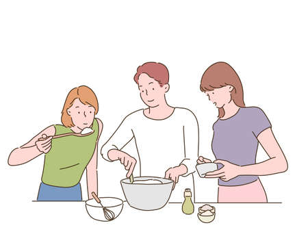 people are cooking together. hand drawn style vector design illustrations.