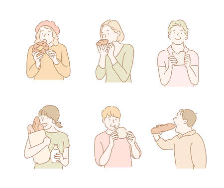 People are eating bread. hand drawn style vector design illustrations.