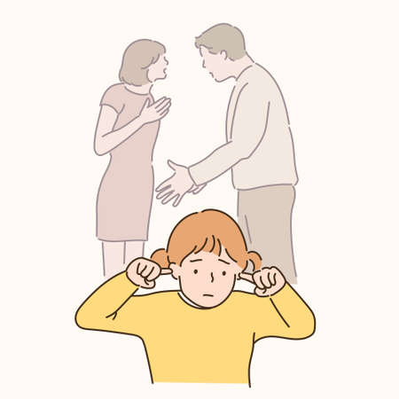 The father is arguing with the mother and the child is covering his ears with a sad expression. hand drawn style vector design illustrations. 일러스트