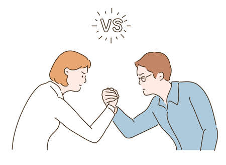 Man and woman arm wrestling. hand drawn style vector design illustrations.