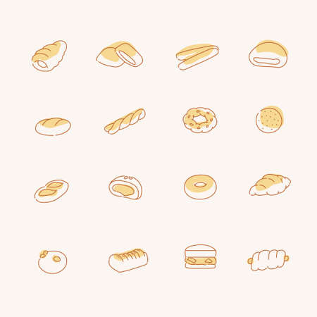 different types of bread. hand drawn style vector design illustrations.