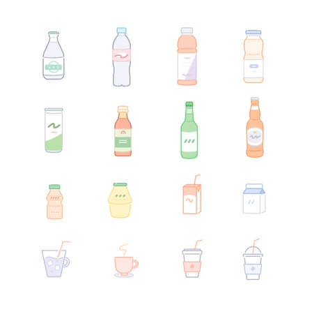 different types of drinks. hand drawn style vector design illustrations.
