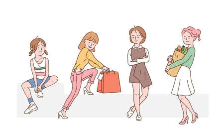 Different styles of female characters. hand drawn style vector design illustrations.