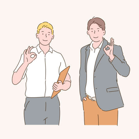 Two businessmen are signing ok. hand drawn style vector design illustrations.