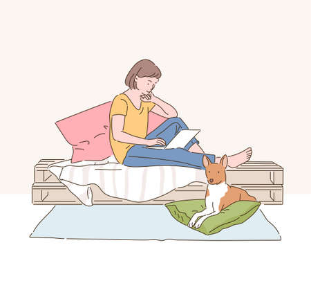 A woman is reading a book on her bed and a dog is sitting under it. hand drawn style vector design illustrations.