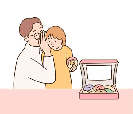 The girl is holding a donut in her hand and her dad is whispering to her. hand drawn style vector design illustrations. 일러스트