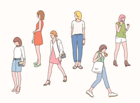 Many women on the street. hand drawn style vector design illustrations.