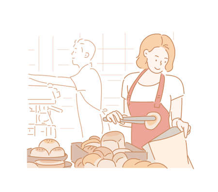 A staff wearing an apron is holding the bread. hand drawn style vector design illustrations.