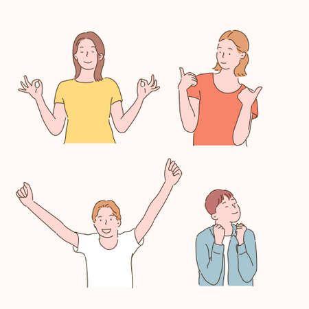 People are making positive gestures. hand drawn style vector design illustrations. 일러스트