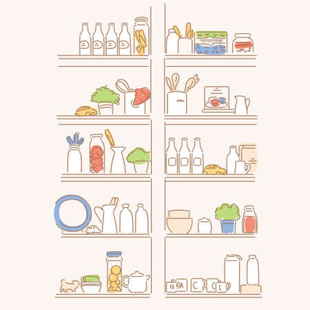 Food ingredients on the kitchen shelves. hand drawn style vector design illustrations.