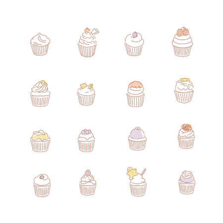 Different types of cupcakes. hand drawn style vector design illustrations. 일러스트