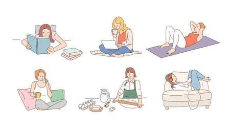 Lifestyle of woman with various hobbies at home. hand drawn style vector design illustrations.