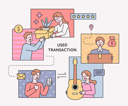 People selling or buying second-hand items online. People on the screen are exchanging goods. flat design style minimal vector illustration.