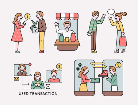 People who purchase goods on mobile or meet in person. flat design style minimal vector illustration.