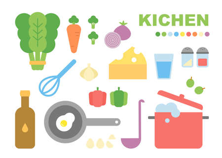 Cooking ingredients and cooking utensils in the kitchen. flat design style minimal vector illustration.