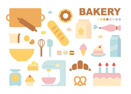Baking tools and ingredients. flat design style minimal vector illustration.