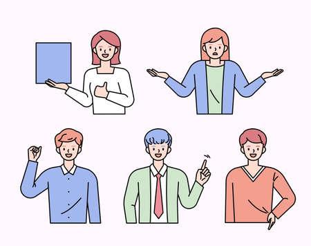 People doing various gestures. flat design style minimal vector illustration.