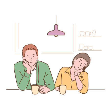 A couple sits at the table and shrugs their chins with a bored expression. hand drawn style vector design illustrations. 일러스트