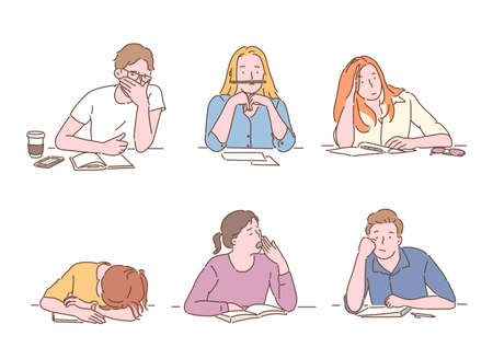 Students look bored while studying. hand drawn style vector design illustrations.
