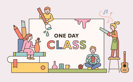 People are holding various hobby items in front of a large board. One day class poster for hobbies. outline simple vector illustration. Vektorgrafik