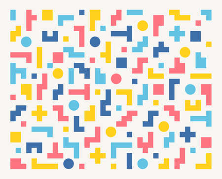 Tetris-shaped figures are combined to make a pattern. Simple pattern design template.