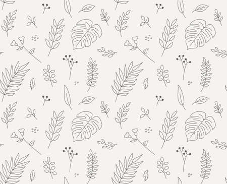 Leaves textile pattern drawn with thin lines. Simple pattern design template.