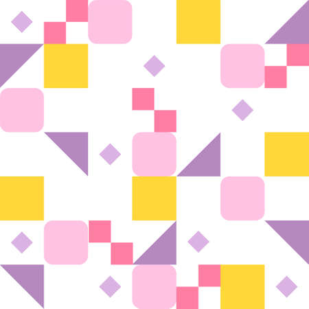 Square and triangular pieces in purple-yellow combination form a pattern. Simple pattern design template. 일러스트