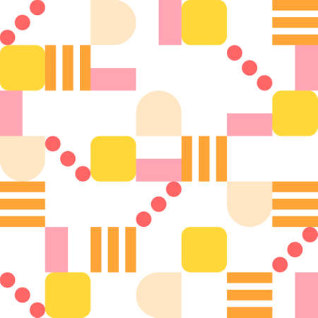 Orange-tone lines, dots, and square pieces of figure form a pattern. Simple pattern design template.