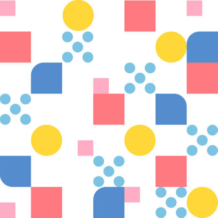 Multi-colored circles and square dots form a pattern. Simple pattern design template.