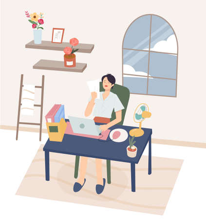 A woman in the hot summer is fanning her hands while working in her home office. flat design style minimal vector illustration.