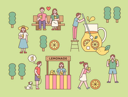 Lemonade shop in the park and people drinking juice. outline simple vector illustration.
