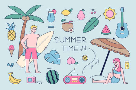 Summer beach icons and male and female characters in swimsuits. outline simple vector illustration.