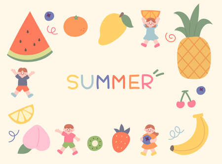 Cute children are holding fruits. Huge fruits are lined up on the edges and there is space for writing in the middle. hand drawing style cute vector illustration. 일러스트