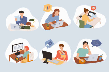 People working from home using computers at their desks. flat design style minimal vector illustration.