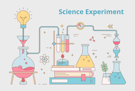 Chemical laboratory flasks are connected and stacked with books. Outline simple flat design banner illustration.